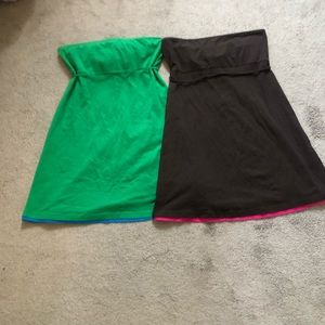 Cotton / stretchy strapless throw on dresses
